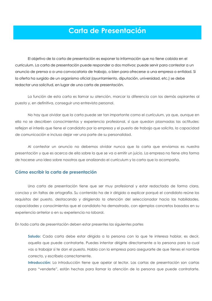 Carta de Presentación y Currículum