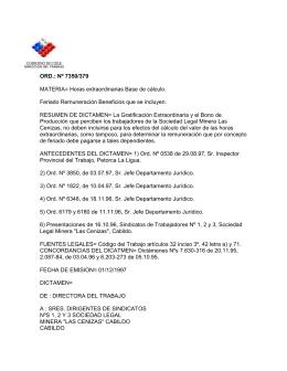 ORD. Nº 7350/379 - Dirección del Trabajo