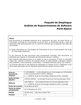 Paquete de Despliegue – Análisis de Requerimientos de Software