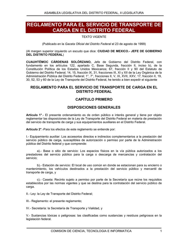 reglamento para el servicio de transporte de carga en el distrito