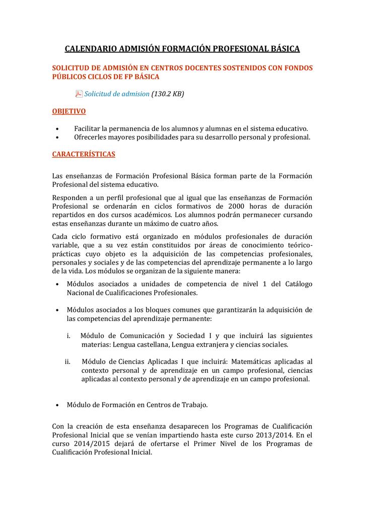 Calendario De Admision Formación Profesional Básica
