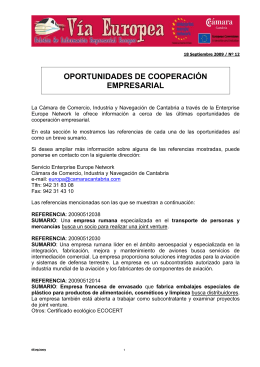 OPORTUNIDADES DE COOPERACIÓN EMPRESARIAL