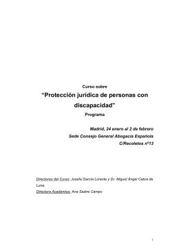 """Programa del Curso sobre """"Protección jurídica de personas"""