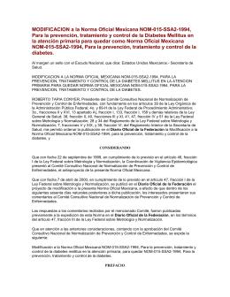 MODIFICACION a la Norma Oficial Mexicana NOM-015-SSA2