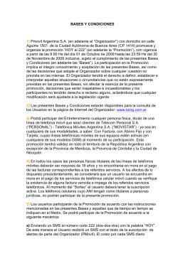 BASES Y CONDICIONES 1) Pmovil Argentina S.A. (en adelante el