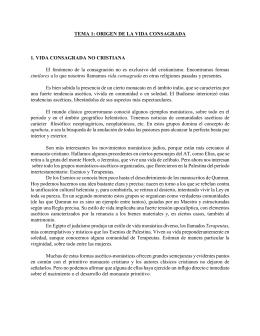 TEMA 1: ORIGEN DE LA VIDA CONSAGRADA