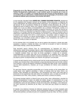 Proposición de la Dip. María del Carmen Izaguirre Francos, del