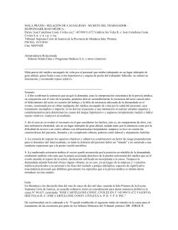 MALA PRAXIS - RELACIÓN DE CAUSALIDAD