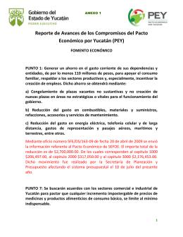Reporte de Avances de los Compromisos del Pacto Económico por