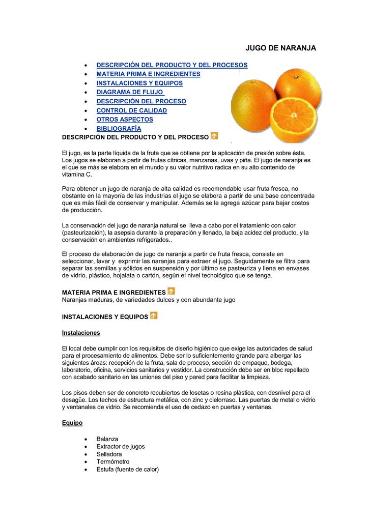 jugo de naranja natural valor nutricional