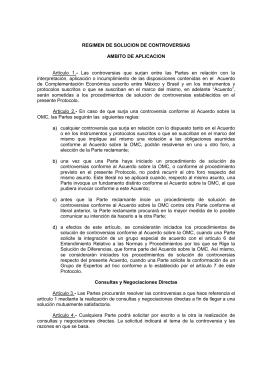 REGIMEN DE SOLUCION DE CONTROVERSIAS