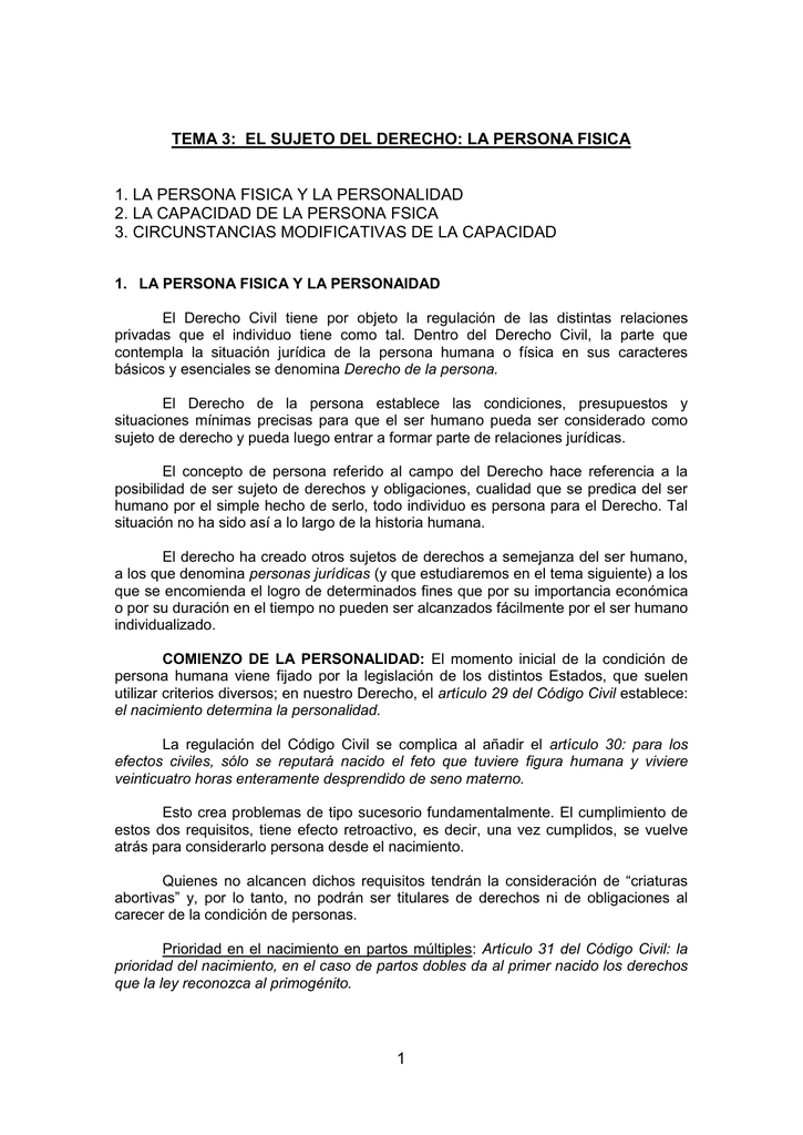 009cbf4ff028 TEMA 8: EL SUJETO DEL DERECHO: LA PERSONA FISICA