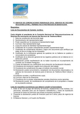 1)  SERVICIO DE COMUNICACIONES PERSONALES (PCS)- SERVICIO DE TELCOMU-