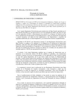 Resolución 24012005 sobre el reglamento de baja tensión