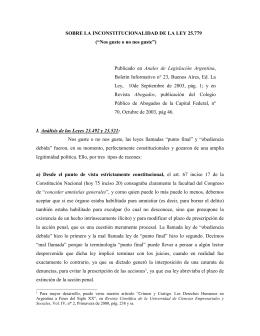 DECLARASE INCONSTITUCIONAL LA LEY