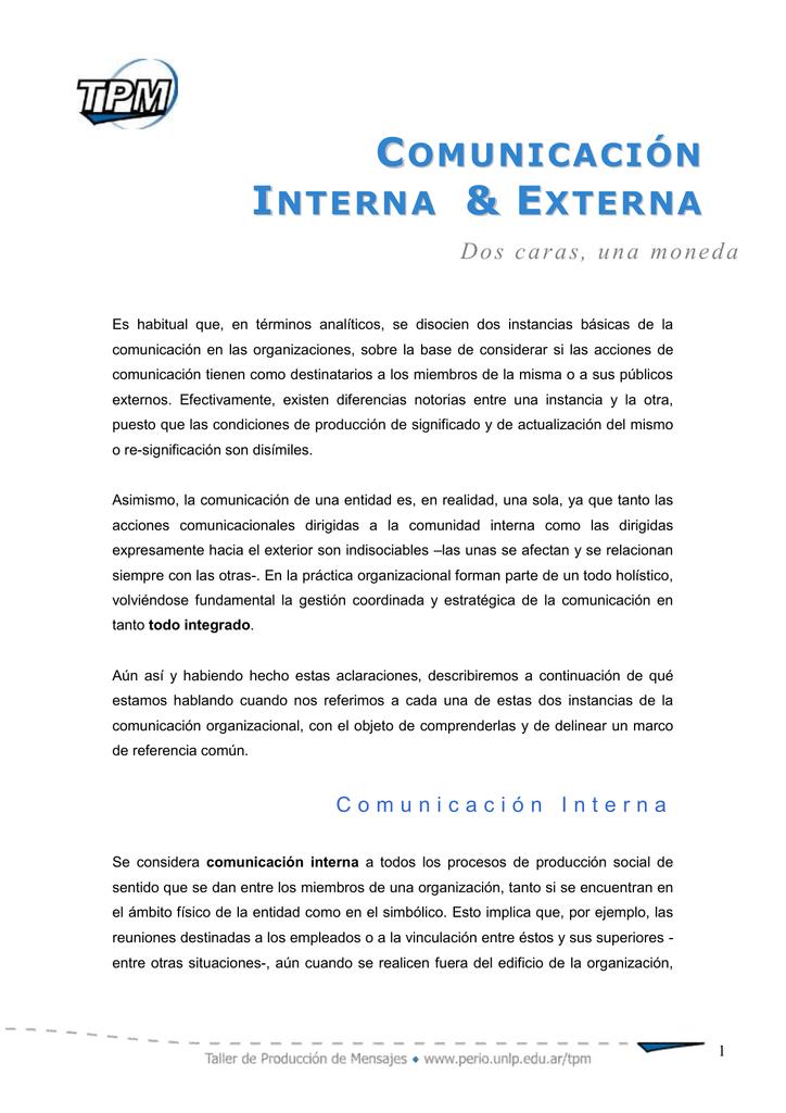 Comunicación externa e interna.