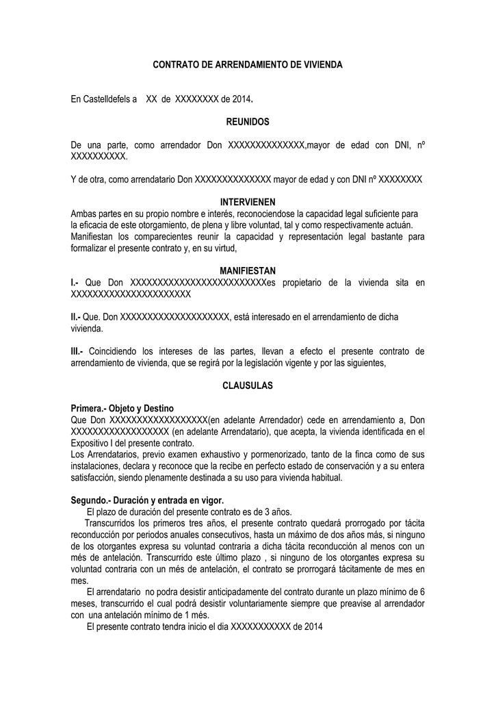CONTRATO DE ARRENDAMIENTO DE VIVIENDA REUNIDOS INTERVIENEN