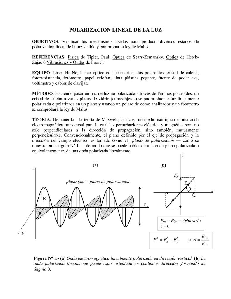 9485a56e39 Polarización lineal de la luz