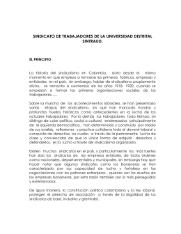 Trabajos sobre sindicalismo - Universidad Distrital Francisco Jose