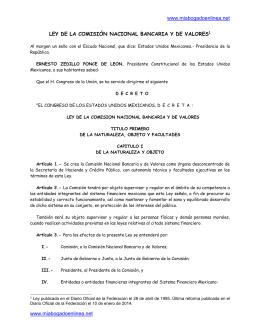 ley de la comisión nacional bancaria y de valores[1]