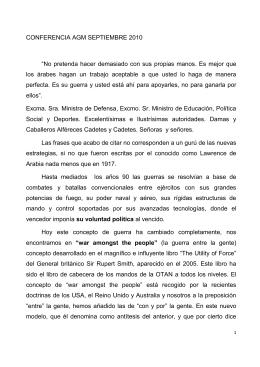 """CONFERENCIA AGM SEPTIEMBRE 2010 """"No pretenda hacer"""
