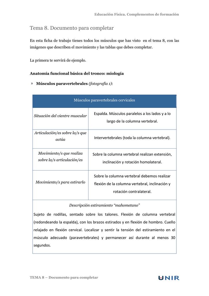 Educación Física. Complementos de formación Tema 8. Documento