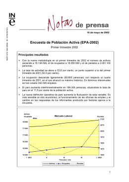 Encuesta de Población Activa (EPA-2002) Primer trimestre 2002 Principales resultados