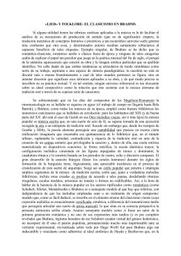 «LIED» Y FOLKLORE: EL CLASICISMO EN BRAHMS