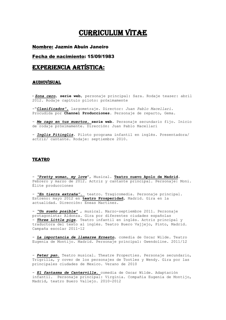 Curriculum Vitae Representante De Actores En Madrid Marieta