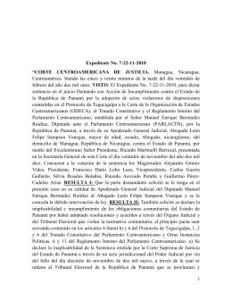 """Expediente No. 7-22-11-2010 """"CORTE CENTROAMERICANA DE"""