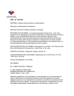 ORD. Nº 7351/380 - Dirección del Trabajo