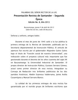 1 PALABRAS DEL SEÑOR RECTOR DE LA UIS Presentación