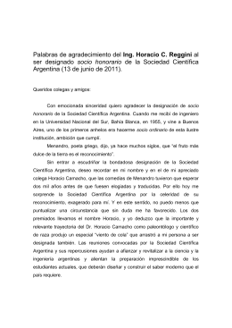 Ing. Horacio C. Reggini socio  honorario