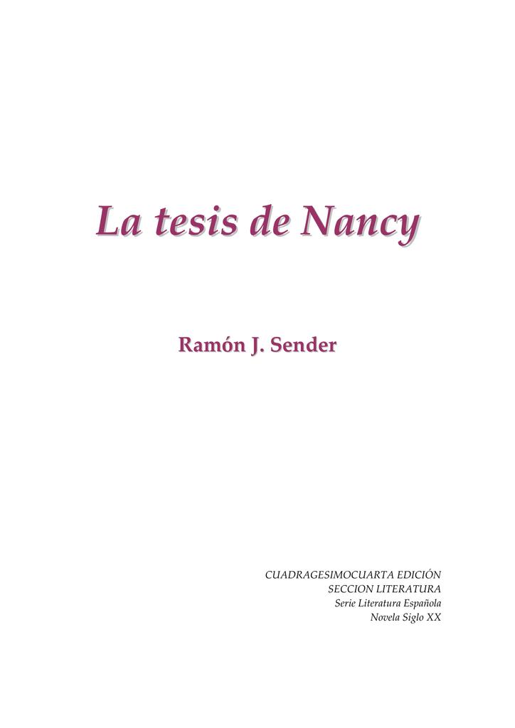 Sender, Ramón José - La tesis de Nancy [R1]