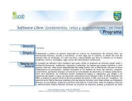 Software Libre: Fundametos, retos y oportunidades