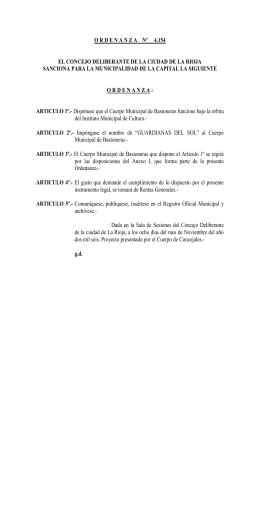 O R D E N A N Z A    Nº 4 - Municipalidad de La Rioja