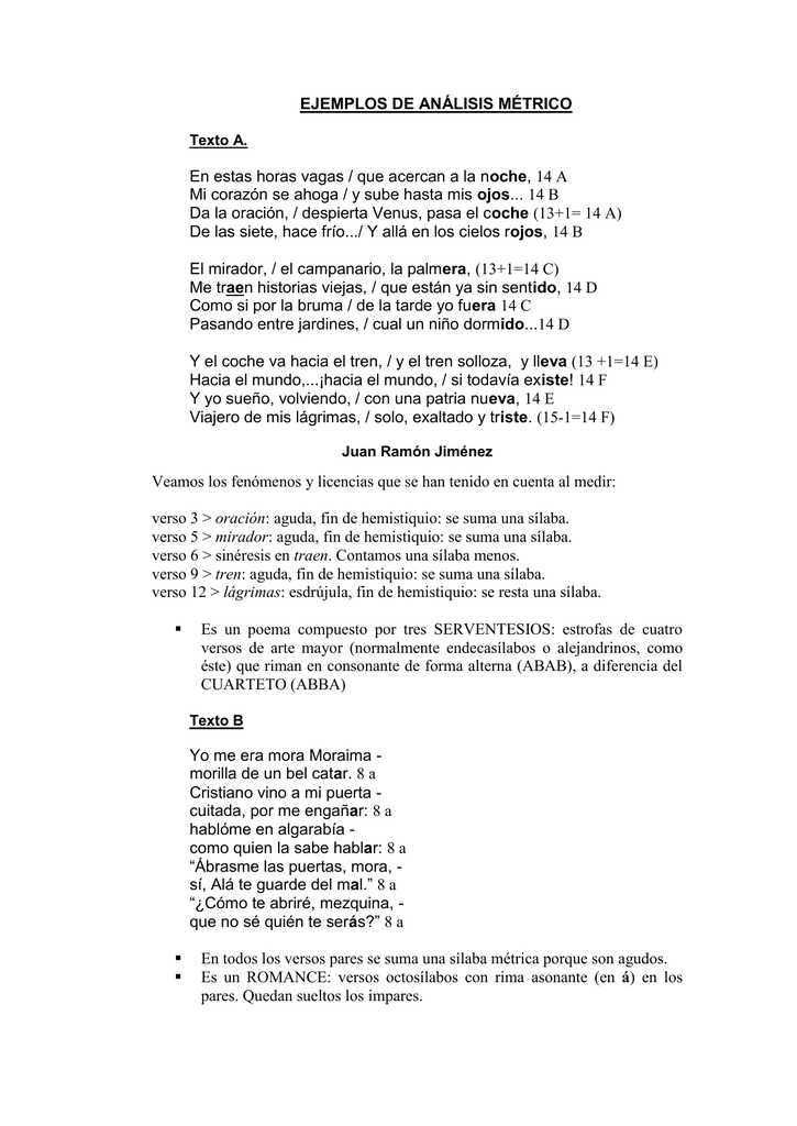 Ejemplo De Poema Medido