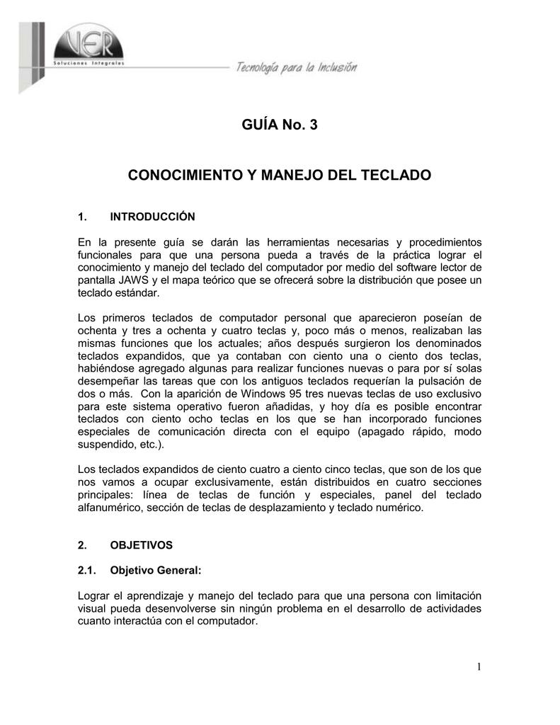 GUÍA No  3 CONOCIMIENTO Y MANEJO DEL TECLADO