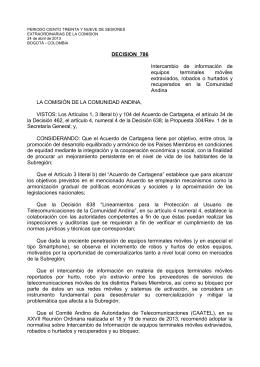 DECISIÓN 786 - INTERCAMBIO DE INFORMACIÓN DE EQUIPOS