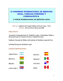 II CONGRESO INTERNACIONAL DE MEDICINA LEGAL, CIENCIAS FORENSES Y CRIMINALÍSTICA