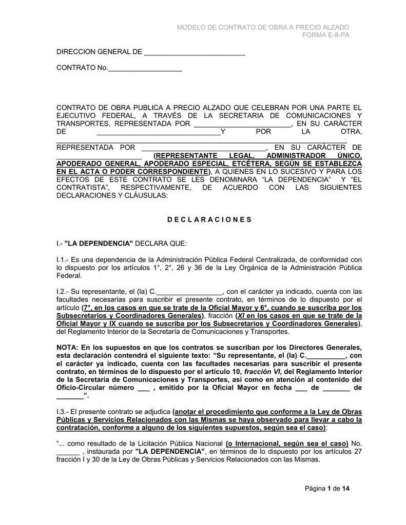 Modelo Contrato Obra Pa Actualizado 18 Ene 10