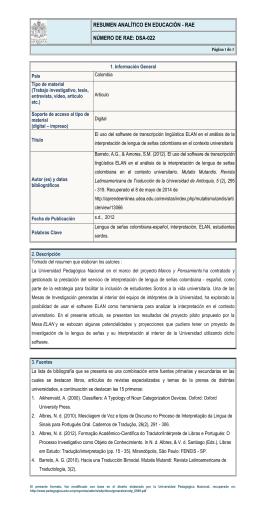 RAE. DSA-022 - Bienvenidos