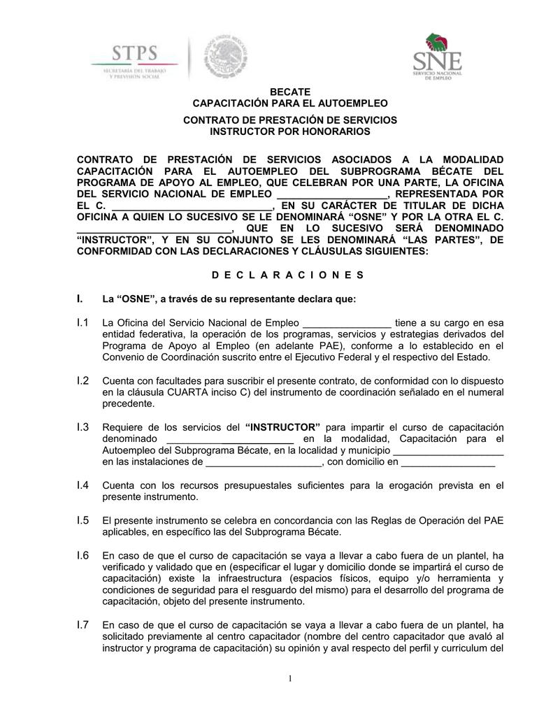 Contrato CAE Honorarios - Secretaría del Trabajo y Previsión Social