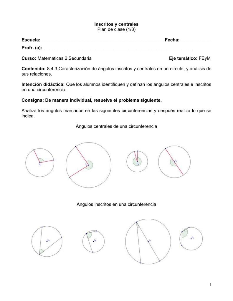 Plan de clase (1/3) sus relaciones. en una circunferencia.