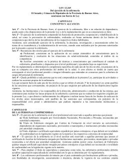 Ley 12245 Ejercicio de la enfermería (Prov. Bs.As.)