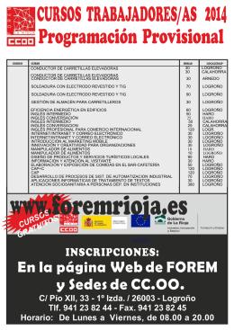 Cursos trabajadores/as - Unión Regional de CC.OO. de La Rioja