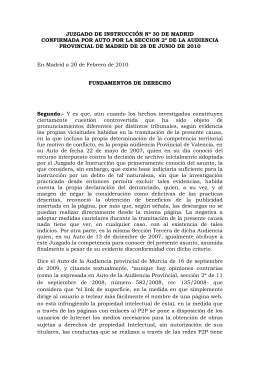 Extracto de la Audiencia Provincial de Madrid