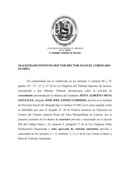 MAGISTRADO PONENTE DOCTOR HÉCTOR MANUEL