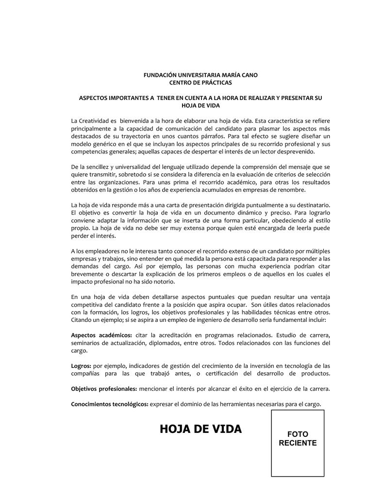 Hoja De Vida Fundacion Universitaria Maria Cano