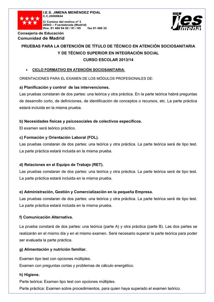 Ciclos Formativos Ies Jimena Menéndez Pidal